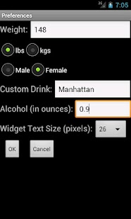 Blood Alcohol Content Widget- screenshot thumbnail