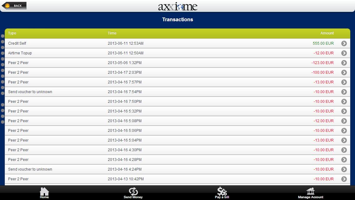 Axxiome - mWallet - screenshot