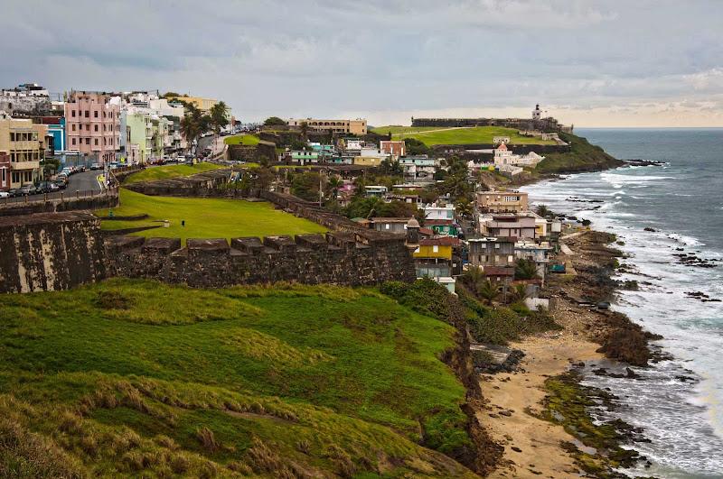 West of San Cristóbal along the coastline is the neighborhood of La Perla in Old San Juan, Puerto Rico. It's part of the area's UNESCO World Heritage Site.