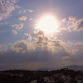 Clouds and Sun in Athens by Dimitra Antonopoulou - Landscapes Cloud Formations ( clouds, sky, greece, athens, sun )