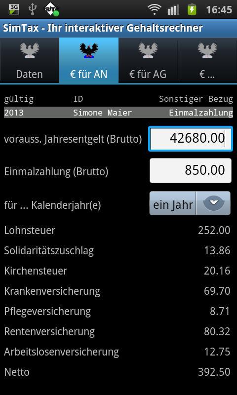SimTax Pro Gehaltsrechner 2015- screenshot