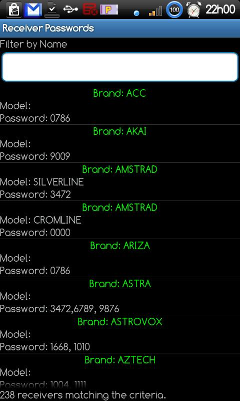 Receiver Passwords- screenshot