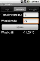 Screenshot of Ski Calculator