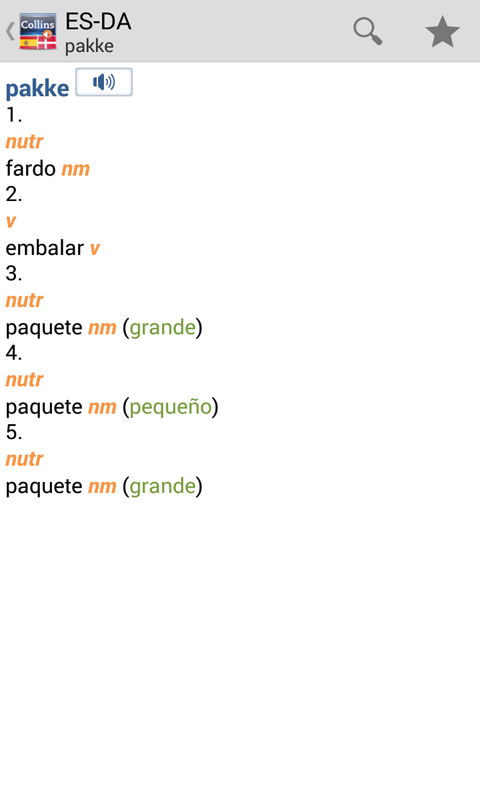 Spanish<>Danish Dictionary T - screenshot