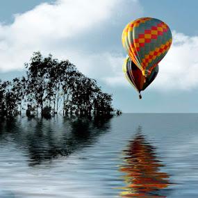 Soft Landing by Merna Nobile - Digital Art Places ( water, trees, balloons )