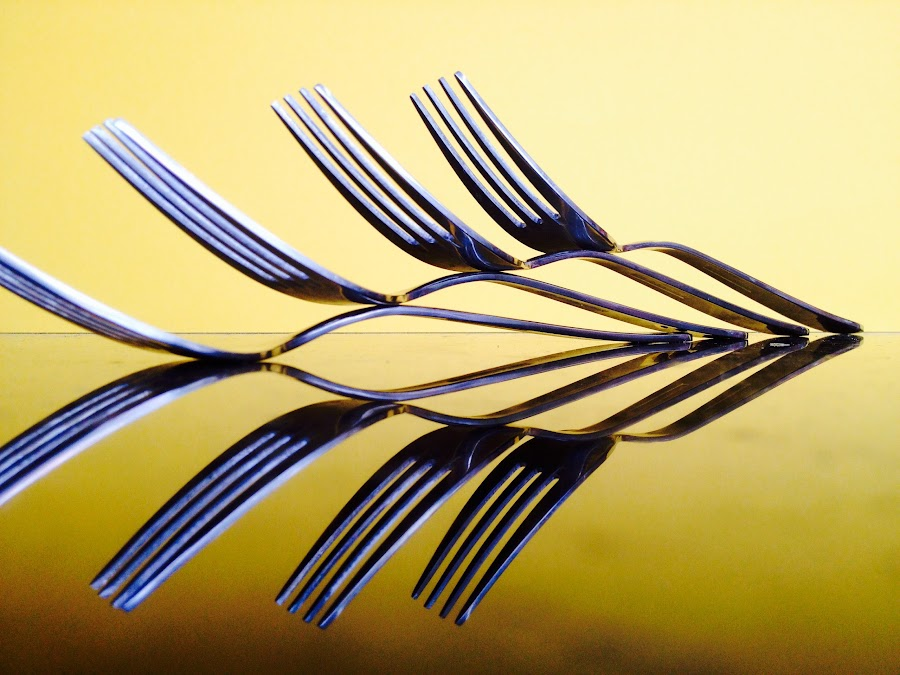 Forks and reflection by Janette Ho - Artistic Objects Other Objects ( , vertical lines, pwc )