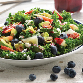 Kale Salad with Blueberry Ginger Dressing.