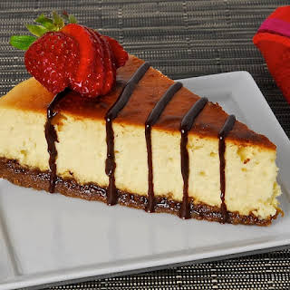 Lemon-Thyme Ricotta Cheesecake with Lavender Chocolate Drizzle.