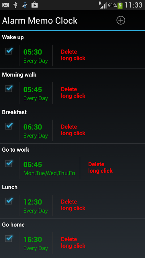 Alarm Memo Clock- screenshot