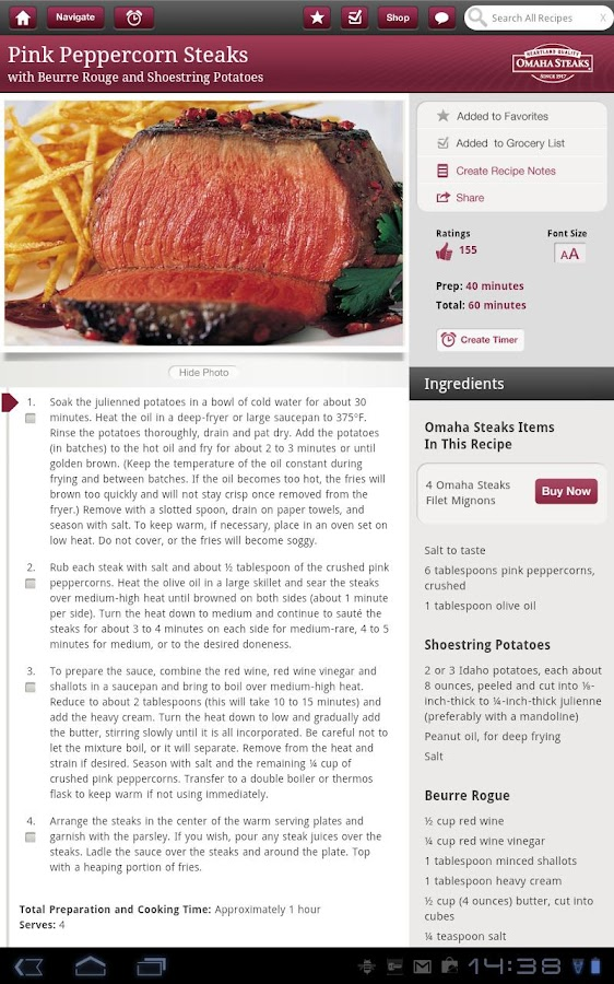 Omaha Steaks Steak Time HD - screenshot