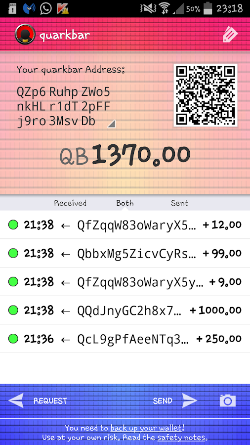 Quarkbar Wallet- screenshot