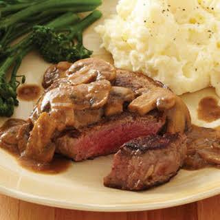 Seared Steak with Mustard-Mushroom Sauce.