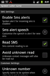 Talking SMS and Caller ID - screenshot thumbnail