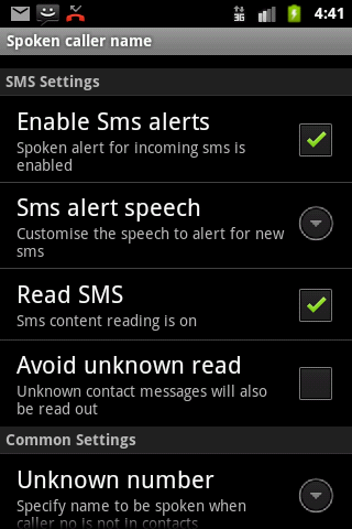 Talking SMS and Caller ID - screenshot