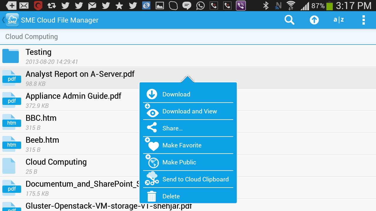 SME Cloud File Manager - screenshot