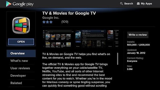Google Play for Google TV - screenshot thumbnail