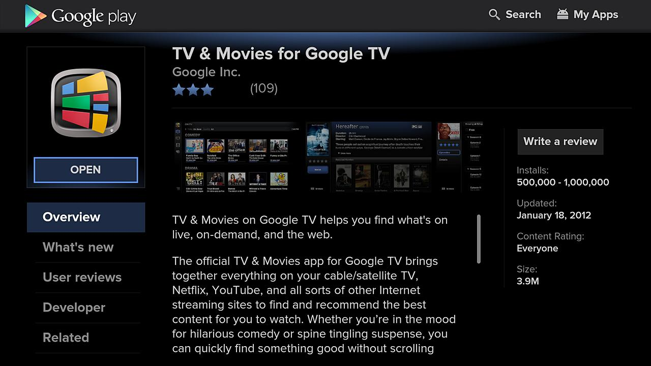 Google Play for Google TV - screenshot