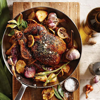 Herbed Roast Chicken with Lemon, Garlic and Red Onions