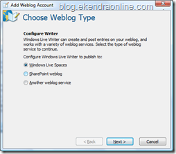 Choose Weblog Account