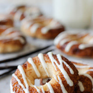 Greek Yogurt Cinnamon Roll Donuts.
