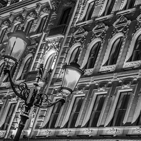 Frame it up  by Lauren Carroll - Black & White Buildings & Architecture ( lights, russia, black and white, windows,  )