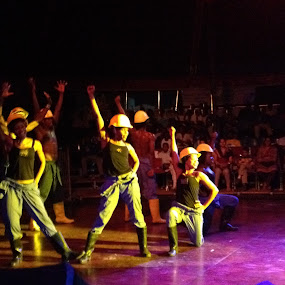 At a circus by Shelina Khimji - People Musicians & Entertainers ( at work, men at work dance, stage, entertainment, circus,  )
