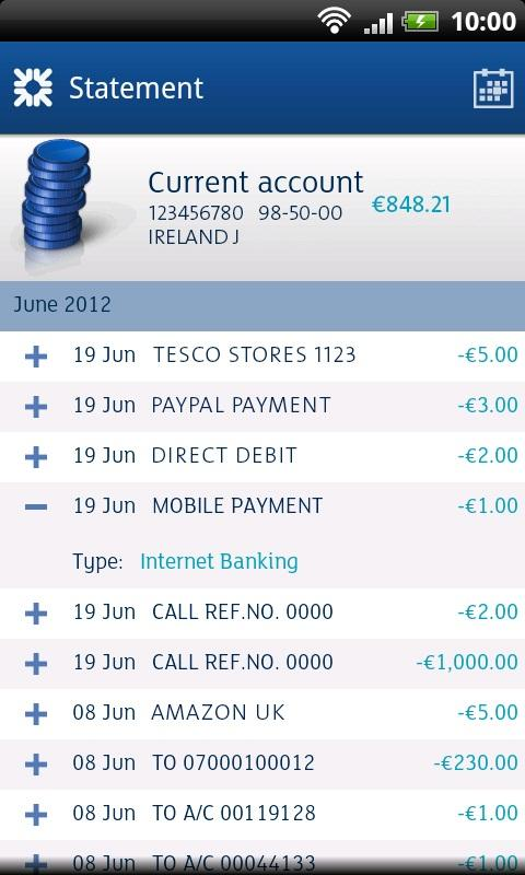 Ulster Bank ROI - screenshot