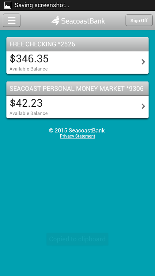 SeacoastBank Personal Banking- screenshot