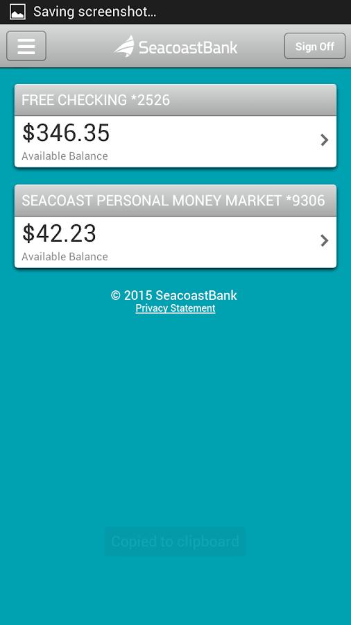 SeacoastBank Personal Banking - screenshot