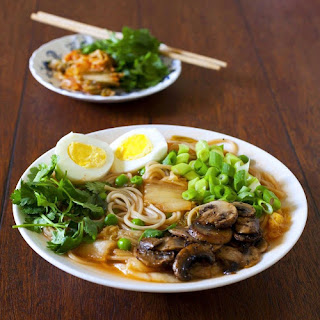 Korean Ramen with Kimchi and Sauteed Mushrooms