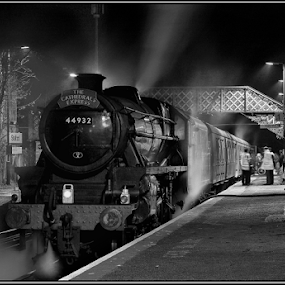 Yesteryear by Griff Johnson - Transportation Trains ( black and white, station, steam train, train, night, shalford )