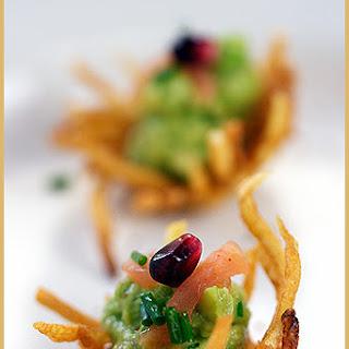 Potato Nests with Avocado and Smoked Salmon.