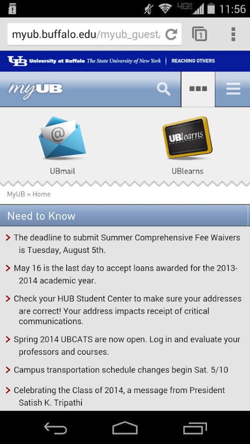 UB Mobile (Univ. at Buffalo) - screenshot