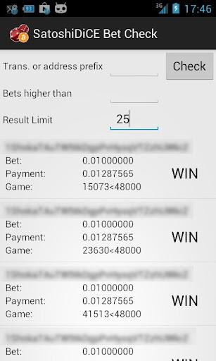 SatoshiDice Bet Check: BitCoin