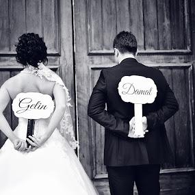 Bride-Groom by Ozge Kesim Yurtsever - Wedding Bride & Groom ( love, black and white, happy, wedding, bride and groom, Wedding, Weddings, Marriage,  )