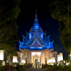 Path to Enlightenment by Mark Pope - City,  Street & Park  Historic Districts ( shrine, blue, thailand, path, asia, night )