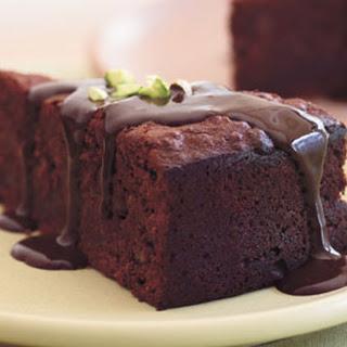 Chocolate-Pistachio Torte with Warm Chocolate Ganache