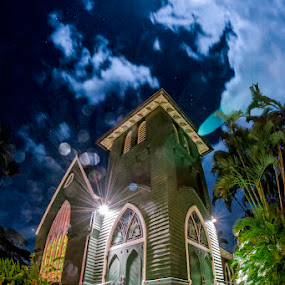 church on the moon by GUILLAUME FUNFROCK - Buildings & Architecture Public & Historical ( doors, palm, moon, stairs, church, blue, grass, green, long exposure, garden,  )