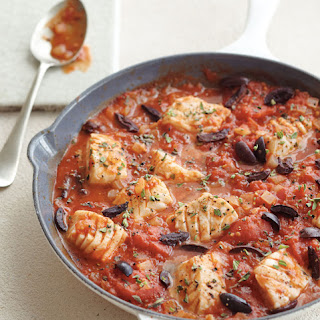 Halibut with Tomatoes, Olives and Marjoram