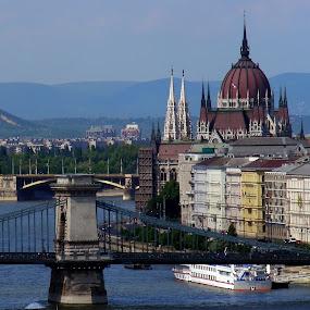 Parliament Budapest by Matt Hulland - City,  Street & Park  Historic Districts ( parliament, budapest, chain bridge, danube, river )