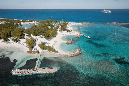 Walk along the white beaches and turquoise lagoons of CocoCay in the Bahamas. The east end of the private island is where the recreational activities take place, with beaches facing a coral basin where you can see rays, tropical fish and occasional manatees.