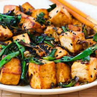 Stir-Fried Tofu with Scallions, Garlic, Ginger, and Soy Sauce.