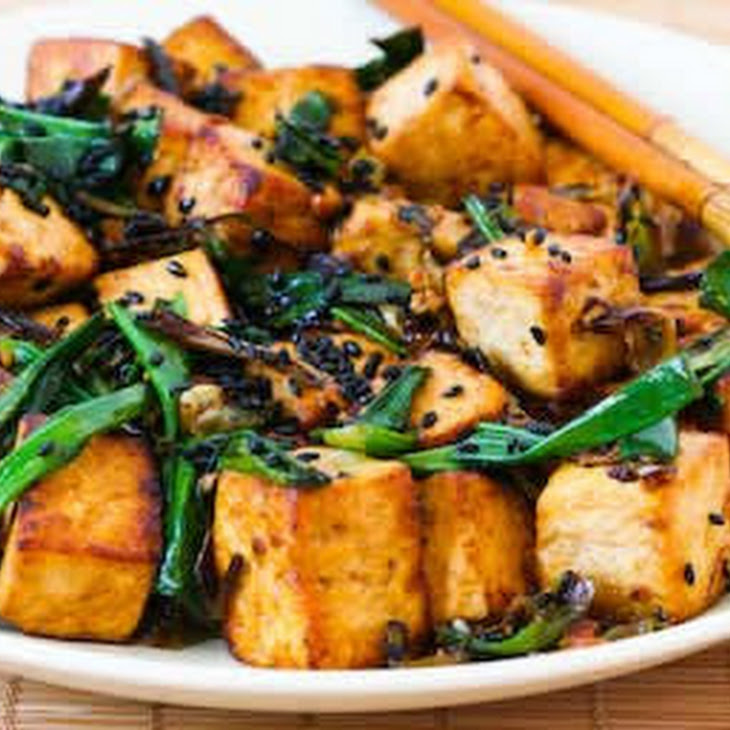 Stir-Fried Tofu with Scallions, Garlic, Ginger, and Soy Sauce Recipe
