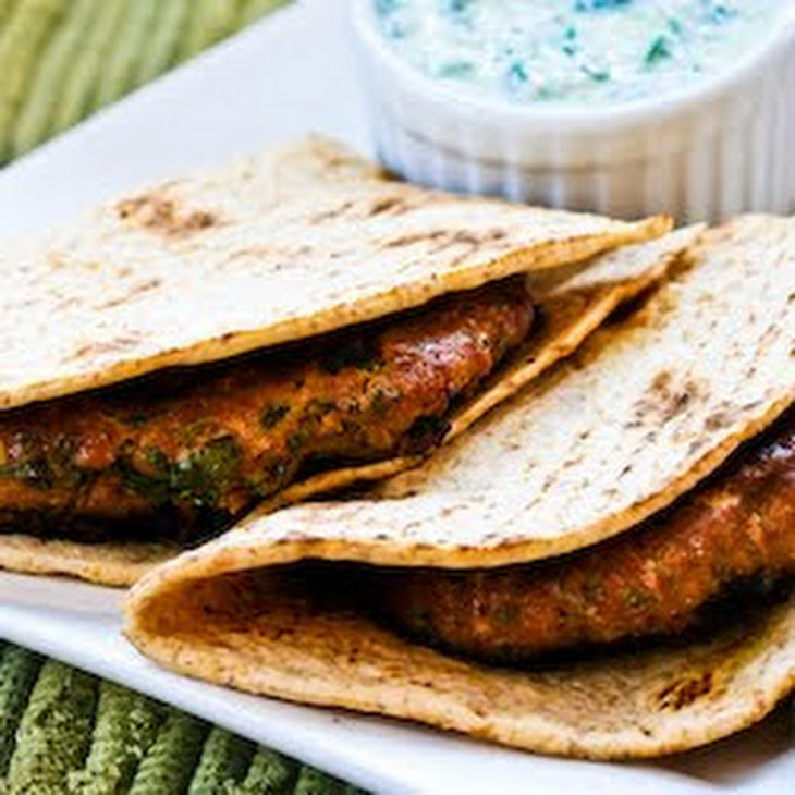 Grilled Middle Eastern Turkey Burgers with Yogurt Sauce