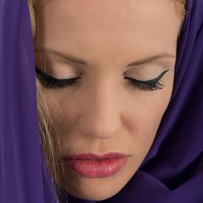 by Sotiris  Filippou - People Portraits of Women ( cool, studio shot, fashion, purple, elegance, beautiful, sensuality, beauty, brown hair, space, women, people, material, close-up, portrait, fashion model, textile, glamour, human face, female, dark, passion )