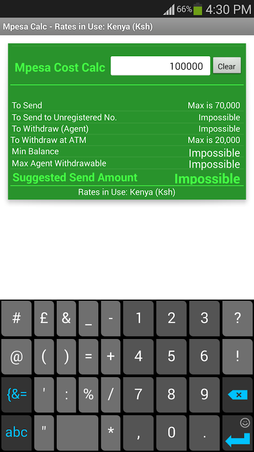 Mpesa Cost Calculator- screenshot