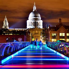 by Matt Hulland - Buildings & Architecture Public & Historical ( england, st pauls, london, millennium, night, cathedral, bridge )