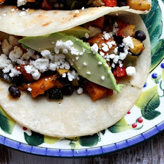 Roasted Vegetable and Black Bean Tacos.