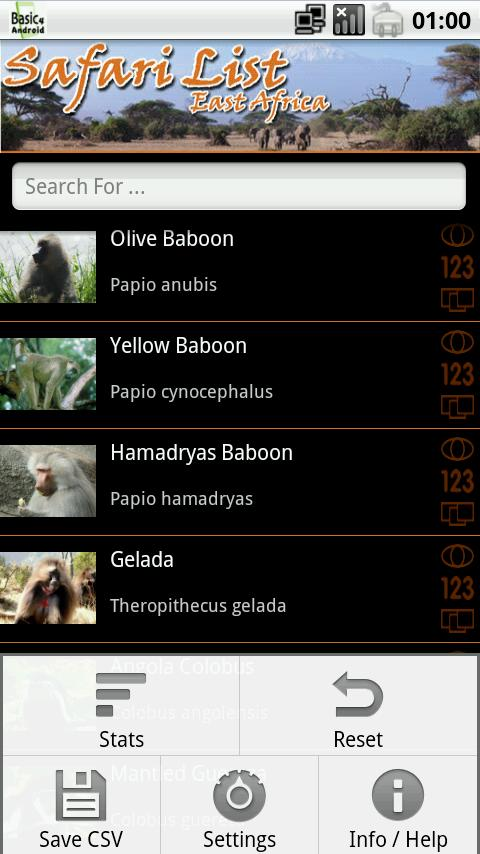 Safari List - East Africa- screenshot