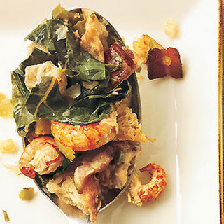 Bread Stuffing with Crawfish, Bacon, and Collard Greens.